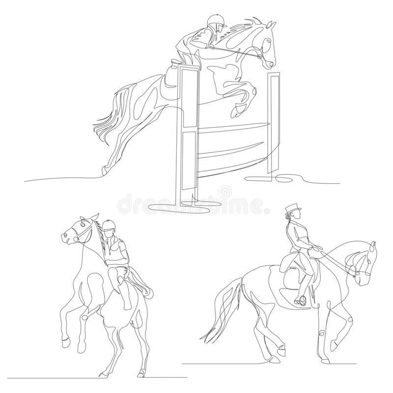 Continuous one line horseman set. Equestrianism sport, Summer Olympic Games. Vector stock illustration