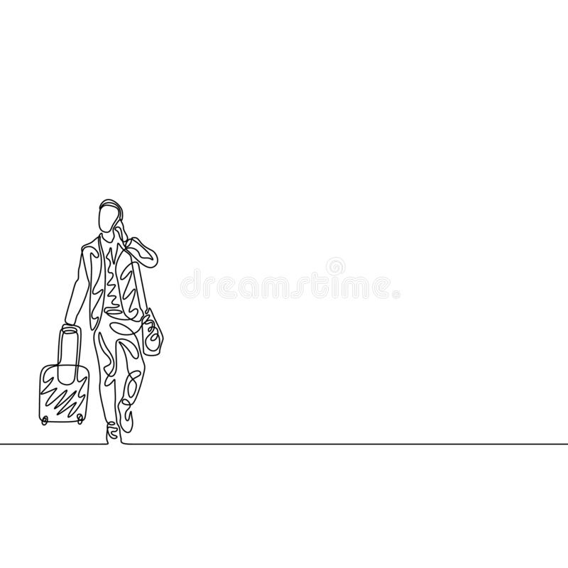 Continuous one line man with traveling bag and phone. Travel concept vector illustration