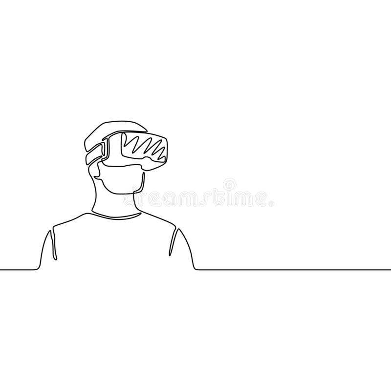 Continuous one line man with VR glasses, future concept. Vector illustration. stock illustration