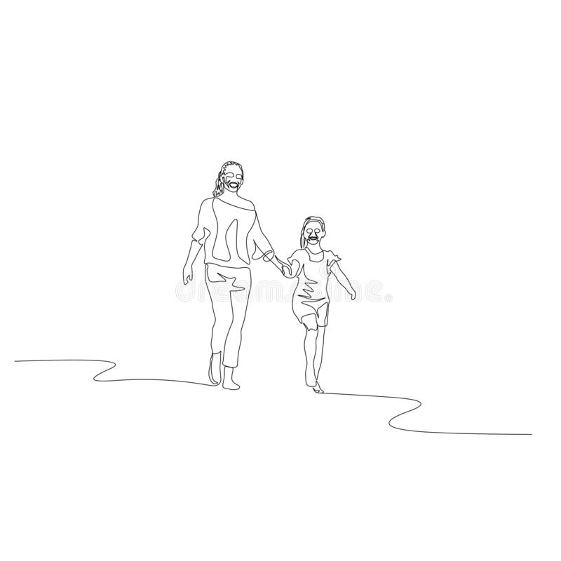 Continuous one line mother and daughter walking holding the hands stock illustration