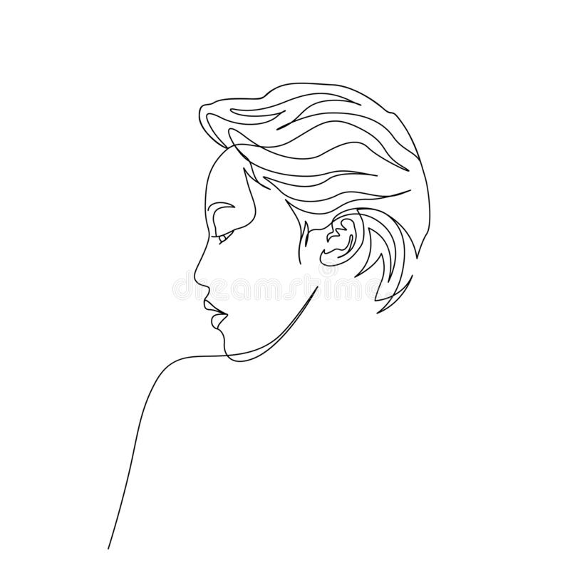 Continuous one line portrait of asian woman side view. Art stock illustration