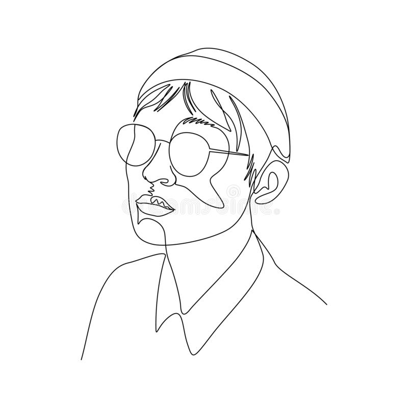 Continuous one line portrait of man in glasses and cap. Art royalty free illustration
