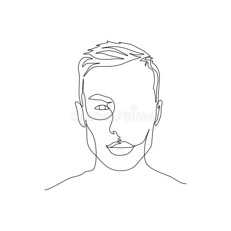Continuous one line portrait of man with symmetric beautiful face. Art royalty free illustration