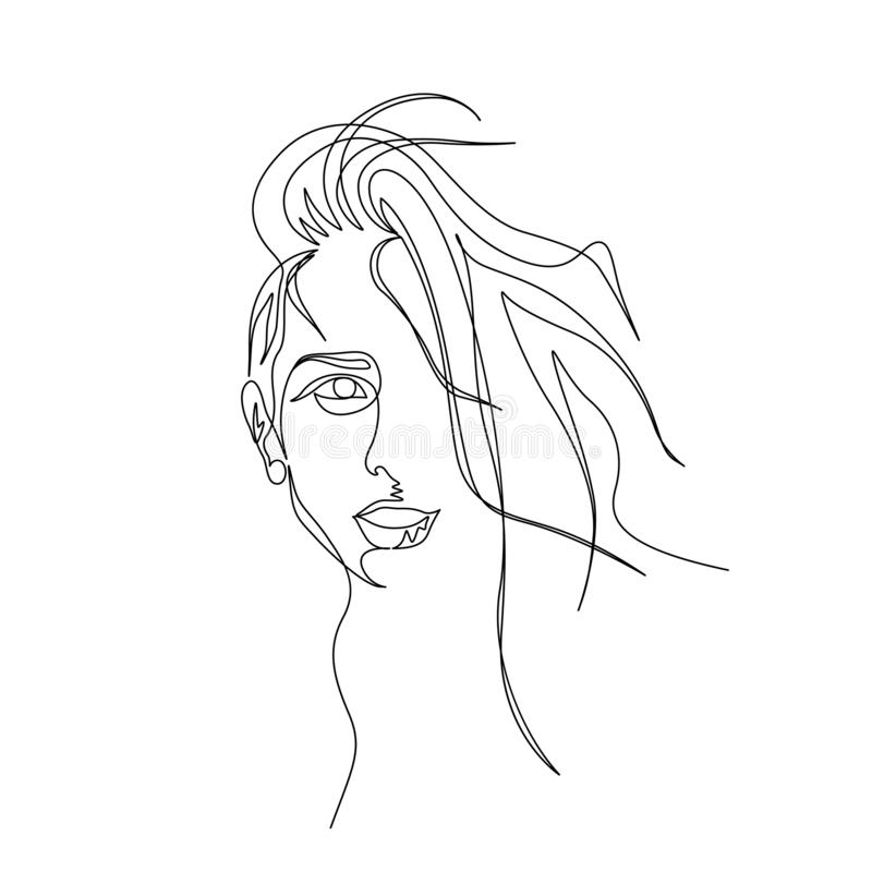 Continuous one line portrait of woman with beautiful long hair. Art royalty free illustration