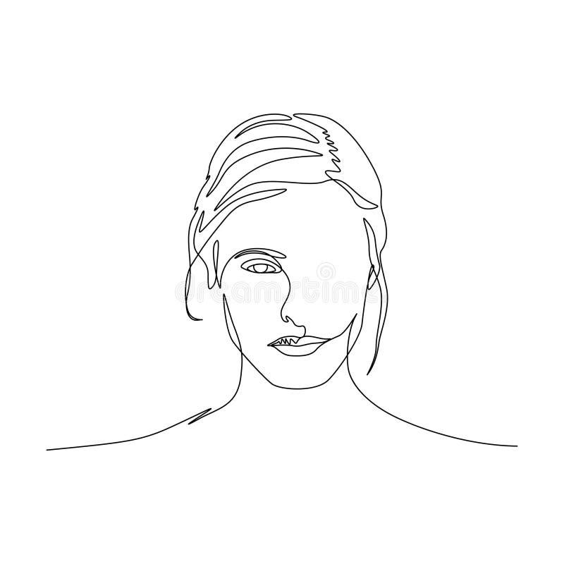 Continuous one line portrait of woman symmetric beautiful face. Art stock illustration