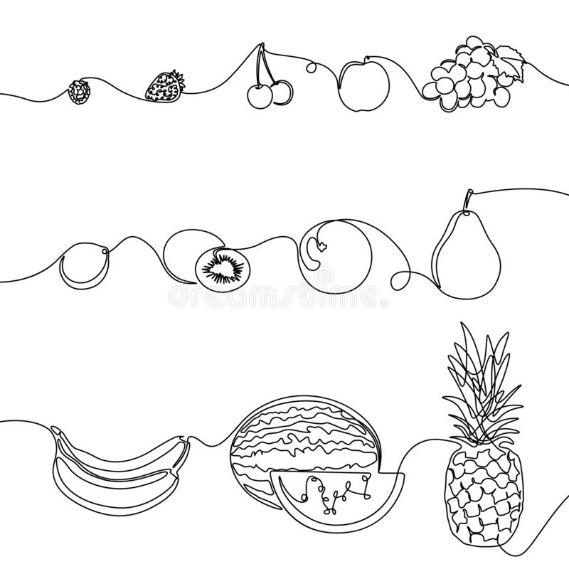 Continuous one line set of fruits, design elements for grocery, tropical fruits. Vector illustration. stock illustration