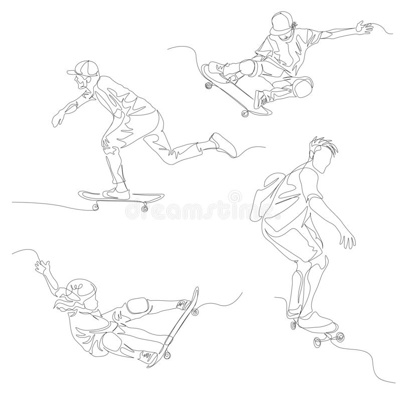 Continuous one line skater set. Skateboarding, Summer Olympic Games. Vector vector illustration