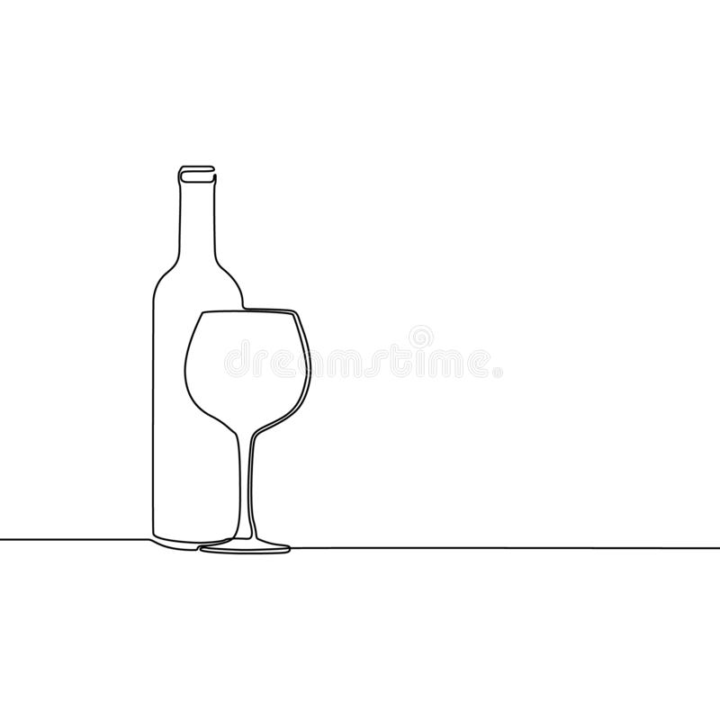 Continuous one line winebottle with wineglass. Vector illustration. vector illustration