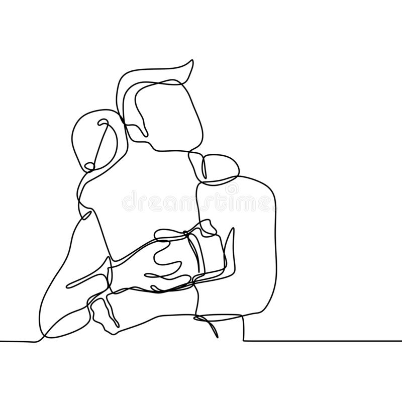 continuous one single drawn line dad reads book to daughter hand-drawn picture silhouette. Line art stock illustration