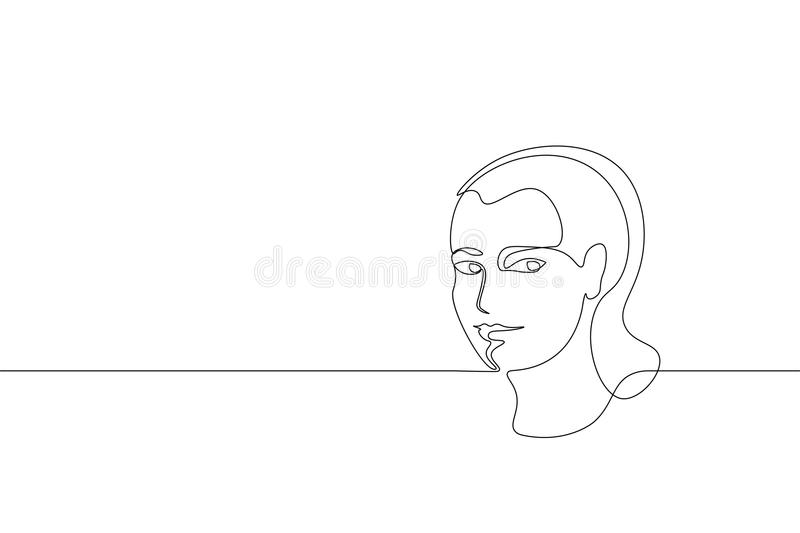 Continuous one single line art girl face concept. Beautiful woman portrait fashion hair hand drawn sketch. Beauty happy stock illustration