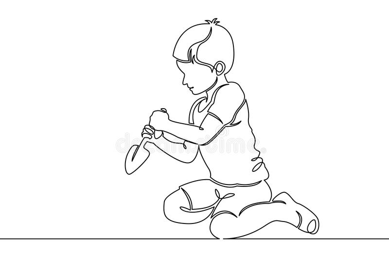 Continuous one single line drawn little children playing in the street in the children`s games. Kids playing in the sandbox park. Children`s fun in the sand stock illustration
