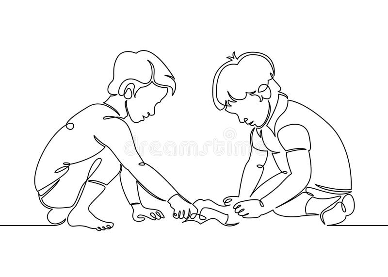 Continuous one single line drawn little children playing in the street in the children`s games. Kids playing in the sandbox park. Children`s fun in the sand vector illustration