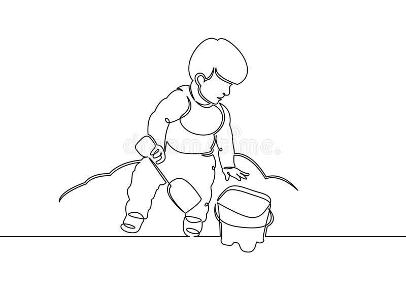 Continuous one single line drawn little children playing in the street in the children`s games. Kids playing in the sandbox park. Children`s fun in the sand royalty free illustration