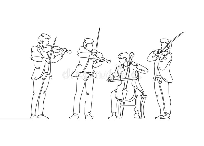 line drawn musical quartet violin musicians royalty free illustration