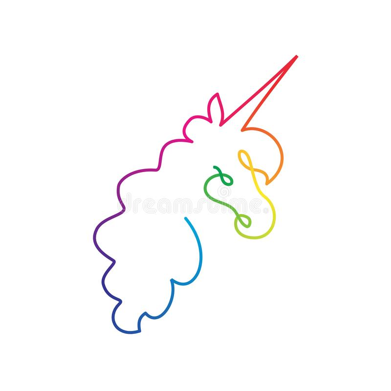 Continuous rainbow line unicorn head royalty free illustration