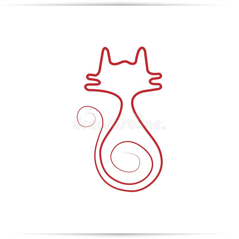 Continuous red line drawing of Cat stock image