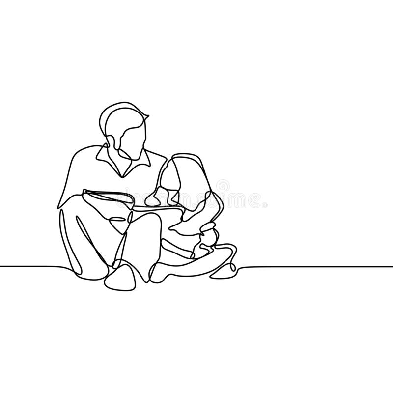 Continuous single drawn one line the daddy tell story the child minimalism family concept. Father children read book reading girl people home cartoon love vector illustration