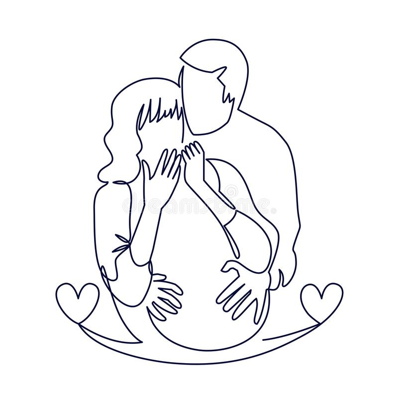 Continuous single drawn one line of enamored conjugal pregnant couple drawn by hand picture silhouette. Line art royalty free illustration