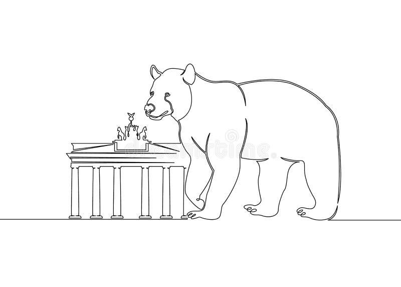 Continuous Single Drawn Single Line Animal Bear Symbol Of The City