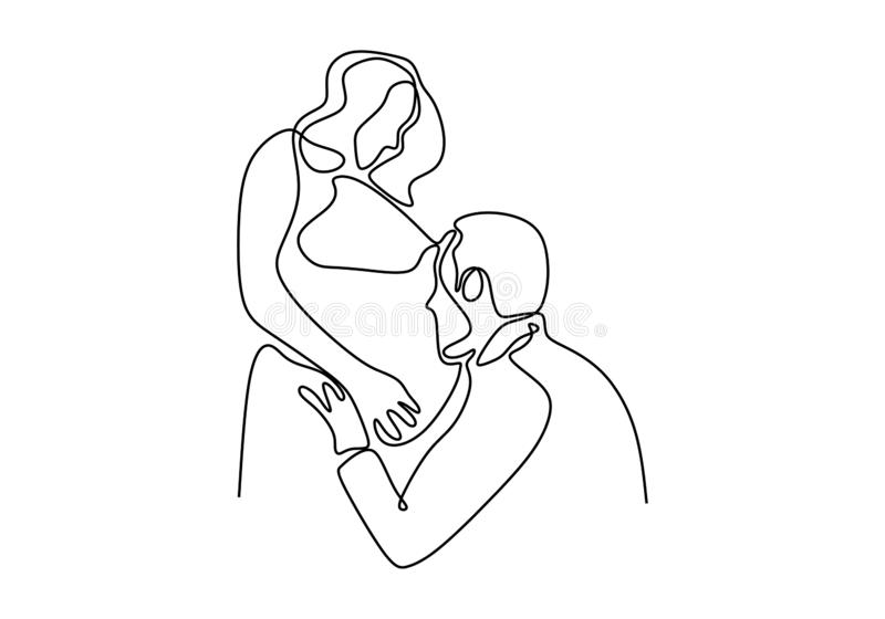 Continuous single line drawing of Happy pregnant woman and her husband. Couple family. Vector illustration simplicity royalty free illustration