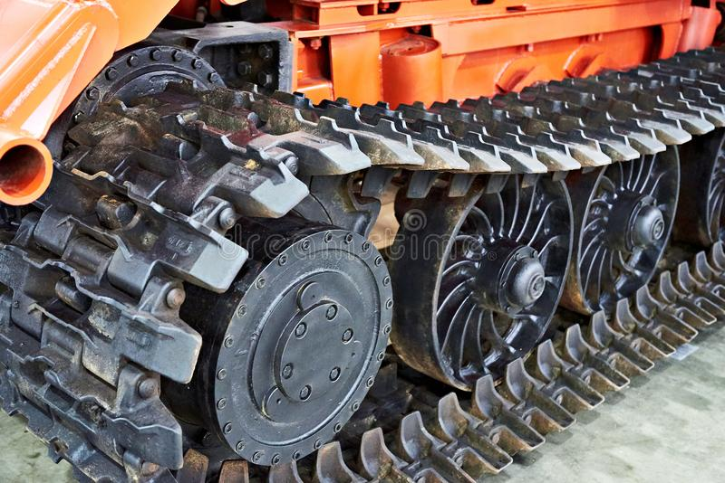 Continuous track. Of construction vehicle royalty free stock photo