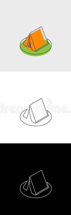 Continuous unbroken line icon of camping tent. Continuous line drawing of business icon isolated on white background in vector layered format stock illustration