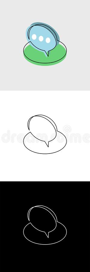 Continuous unbroken line icon of conversation chat speech bubble. Continuous line drawing of business icon isolated on white background in vector layered format royalty free illustration
