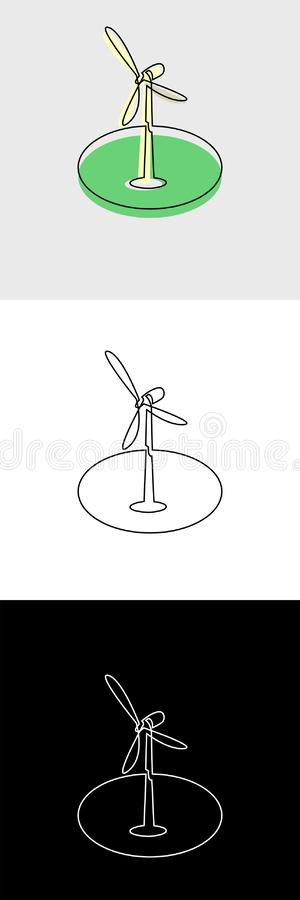 Continuous unbroken line icon of wind turbine generator. Continuous line drawing of business icon isolated on white background in vector layered format stock illustration