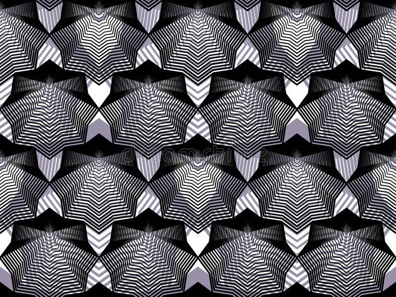 Continuous vector pattern with graphic lines, decorative abstract background with overlay shapes. Black and white ornamental seam. Less transparent backdrop, can royalty free illustration
