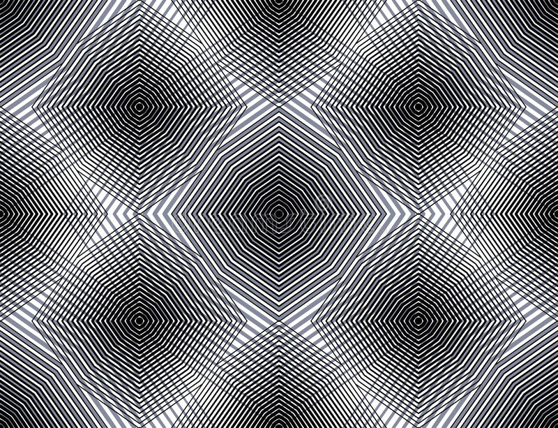 Continuous vector pattern with graphic lines, decorative abstract background with overlay shapes. Black and white ornamental seam. Less transparent backdrop, can vector illustration