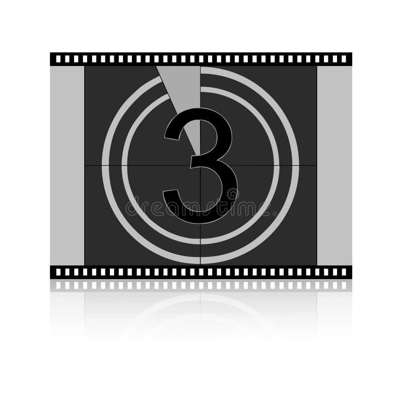 Conto alla rovescia della pellicola - tre fotografie stock libere da diritti