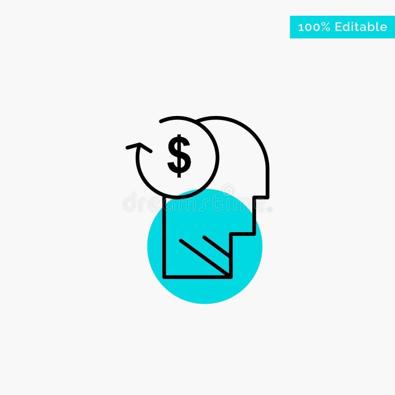 Conto, avatar, costi, impiegato, profilo, icona di vettore del punto del cerchio di punto culminante del turchese di affari illustrazione di stock