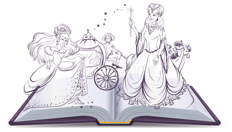 Conto de Cinderella Abra o conto da fantasia do livro Fada e Cinderella com o deslizador de vidro ilustração do vetor