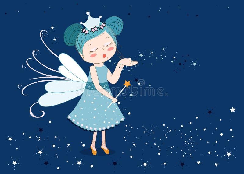 Conto de fadas bonito que envia estrelas ilustração do vetor