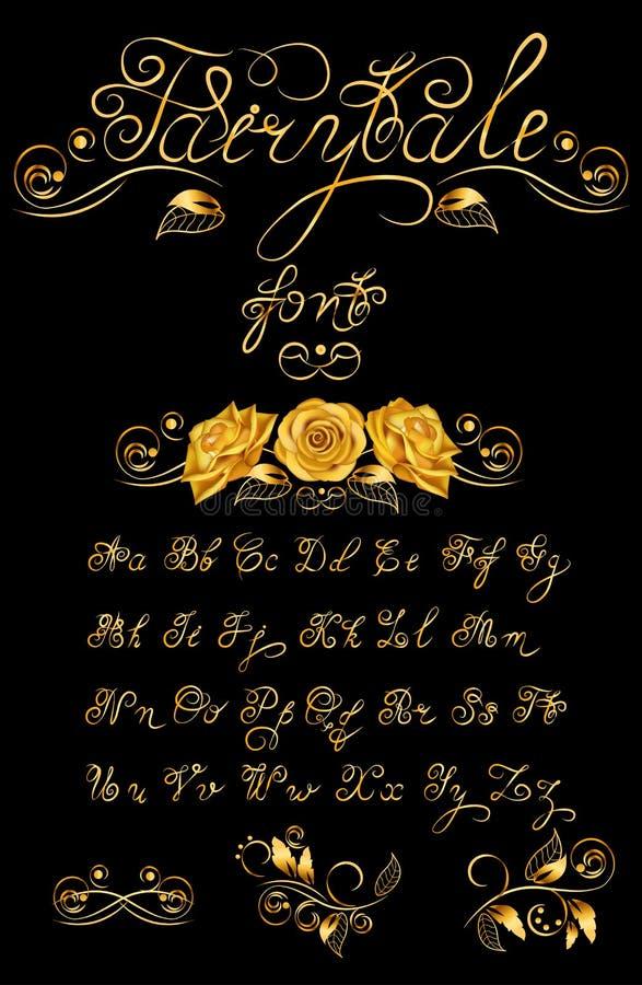 Conto de fadas do ouro, fonte caligráfica tirada mão do vetor Texto das citações ABC Lowercase inglês da rotulação, caixa certifi ilustração do vetor