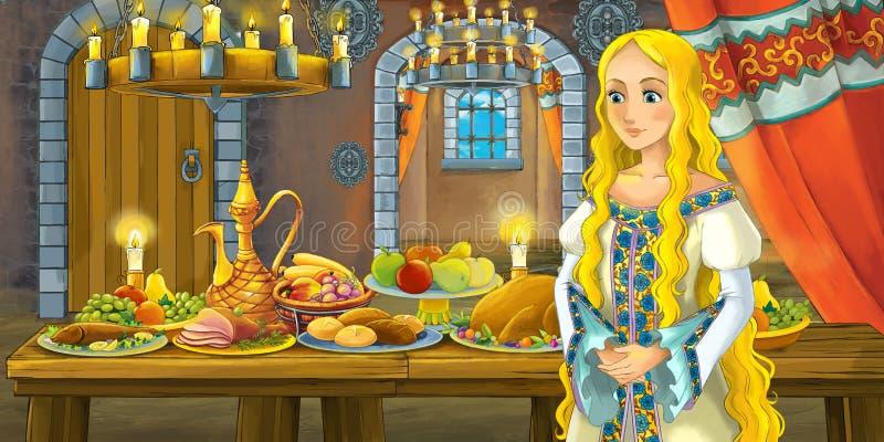 Conto de fadas dos desenhos animados com a princesa no castelo pela tabela completamente do alimento que olha e que sorri ilustração royalty free