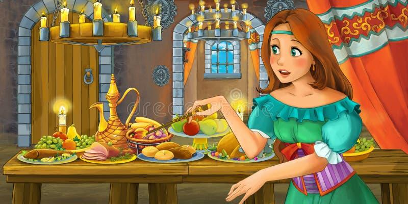 Conto de fadas dos desenhos animados com a princesa no castelo pela tabela completamente do alimento que olha e que sorri ilustração do vetor