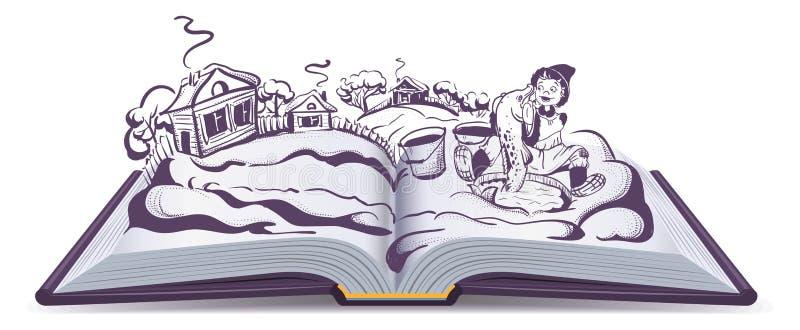 Conto de fadas Emelya do russo e mágica Pike ilustração do vetor