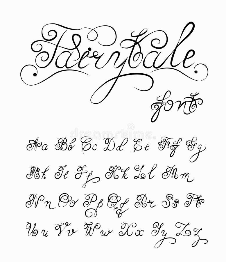 Conto de fadas, fonte caligráfica tirada mão do vetor Alfabeto feito a mão da tatuagem da caligrafia Texto das citações ABC Rotul ilustração royalty free