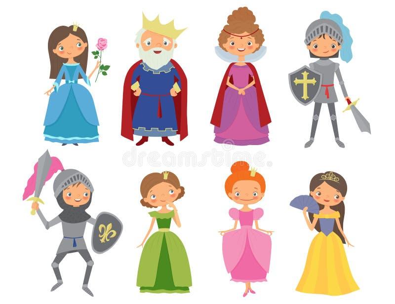 Conto de fadas Rei, rainha, cavaleiros e princesas imagem de stock royalty free