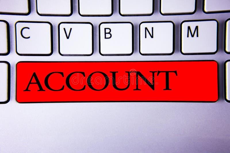 Conto di scrittura del testo della scrittura Rosso finanziario della tastiera dell'esposizione di descrizione di significato di c fotografie stock