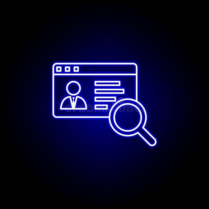 conto, icona online Elementi dell'illustrazione delle risorse umane nell'icona al neon di stile I segni ed i simboli possono esse illustrazione di stock