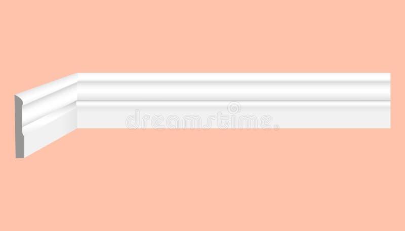 Contornando o teto branco plástico com vetor realístico dos desenhos ilustração royalty free