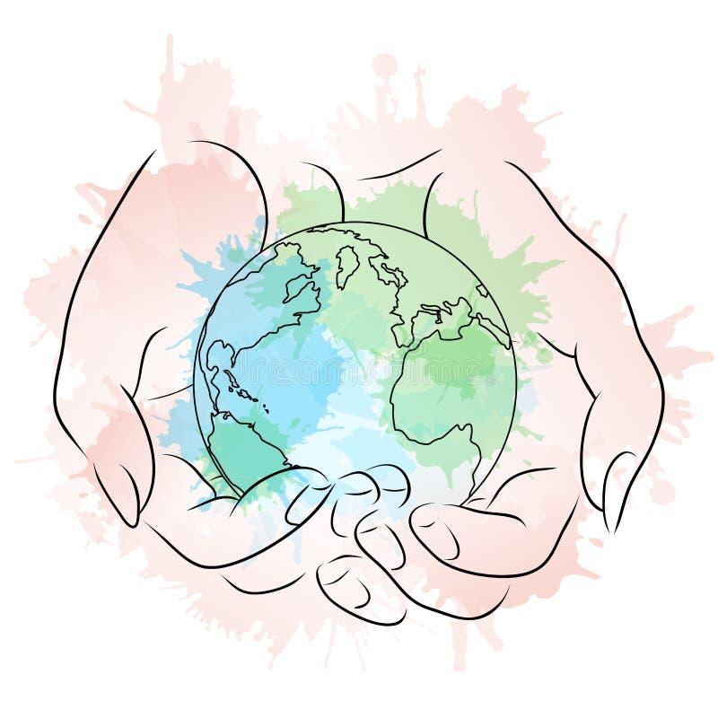 Contorne a ilustração das mãos fêmeas que guardam um globo ilustração royalty free