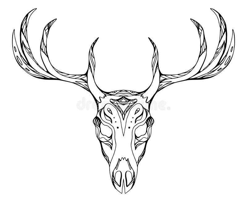 Contorne a ilustração de um crânio dos cervos com chifres ilustração do vetor