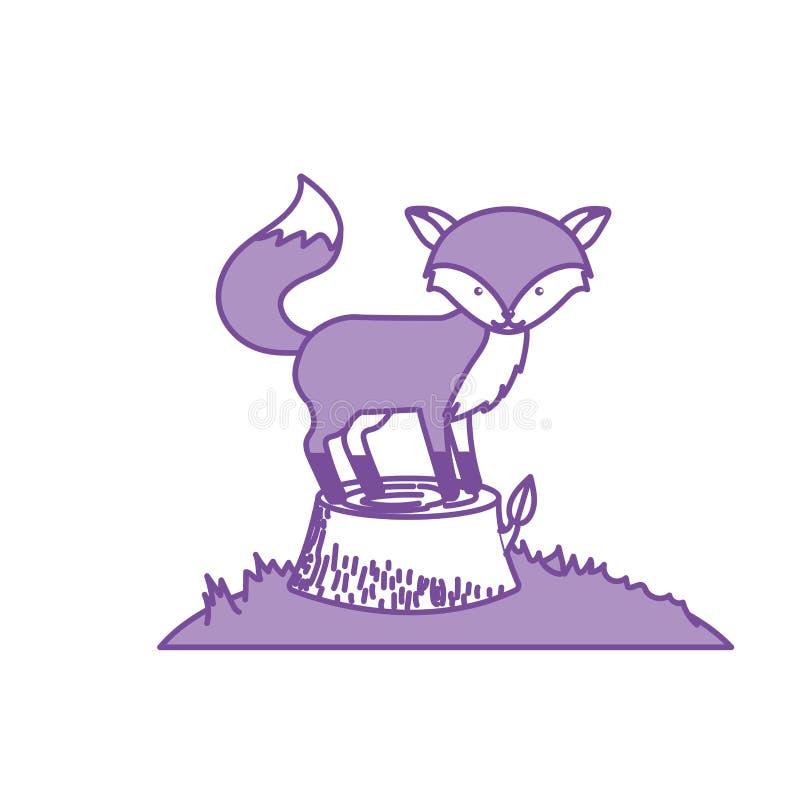 Contorne o animal bonito da raposa na árvore da madeira do tronco ilustração royalty free