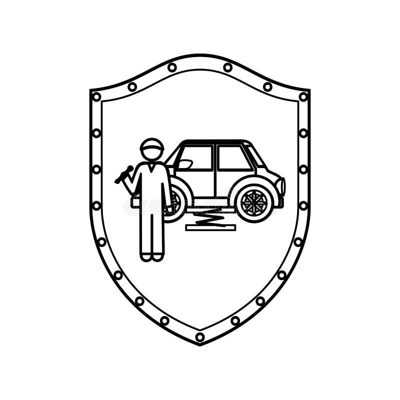 Contorne o protetor do mecânico com chave inglesa e carro ilustração do vetor