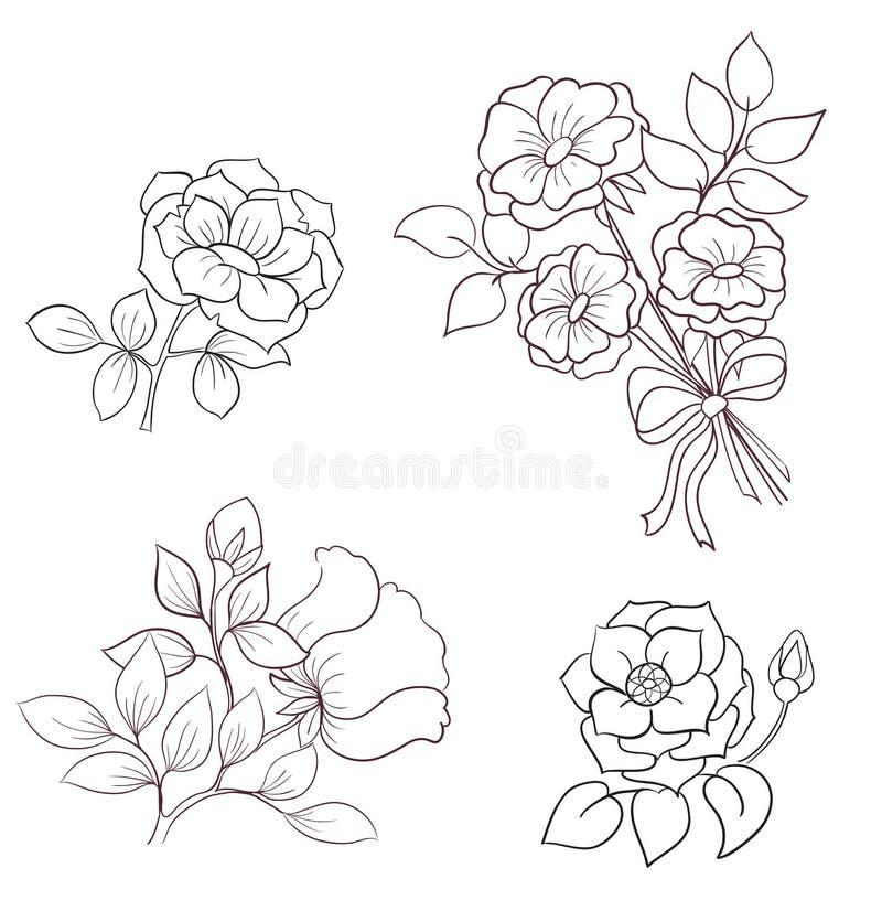 Contornea las flores de salvaje subió stock de ilustración