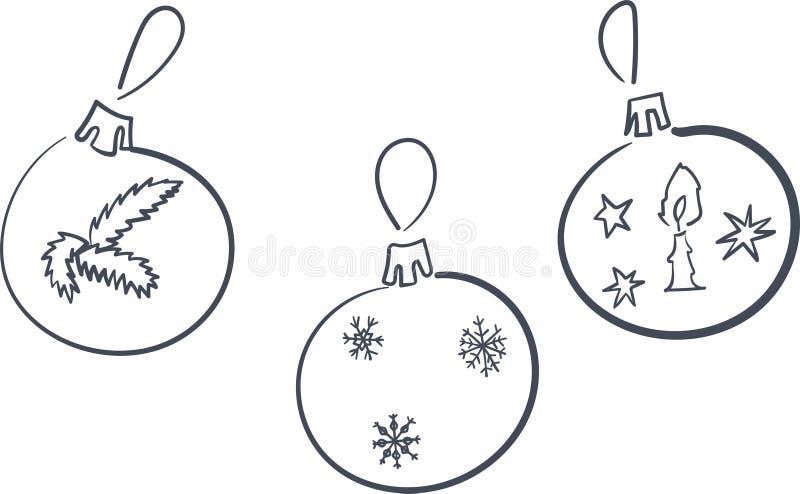 Contorni della decorazione del nuovo anno, illustrazione di vettore royalty illustrazione gratis