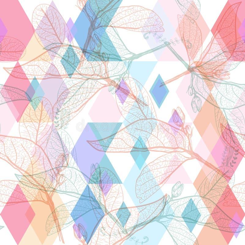Contorni delle foglie, colori pastelli del modello senza cuciture floreale d'avanguardia moderno porpora lilla rosa arancione mag illustrazione vettoriale